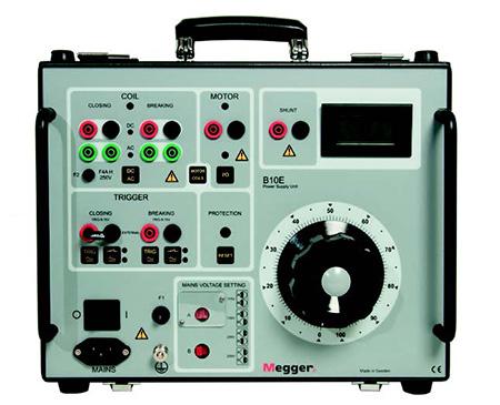 El Megger B10E proporciona energía para las bobinas de apertura y cierre del interruptor, y para el motor de carga muelles.