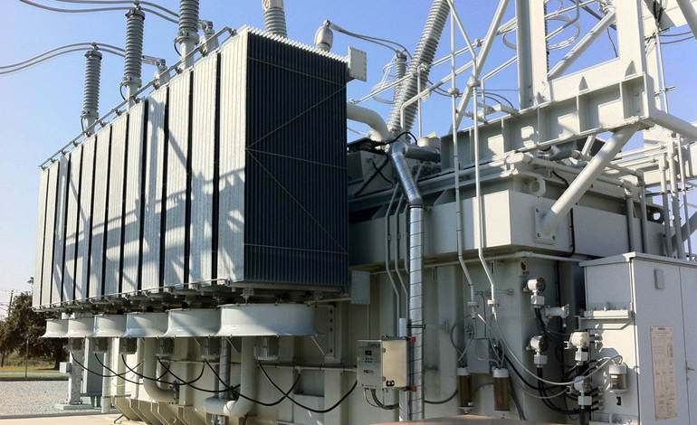 High voltage transformer inside a substation