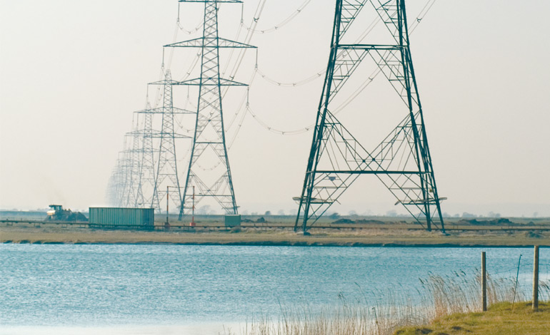 High voltage power lines Romney Marsh, Kent