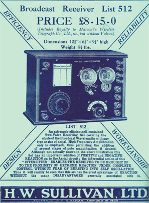Broadcast receiver or radio - HW Sullivan